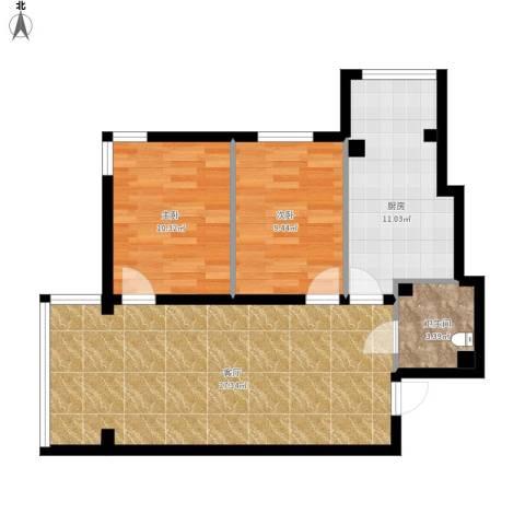 远创樾府2室1厅1卫1厨87.00㎡户型图