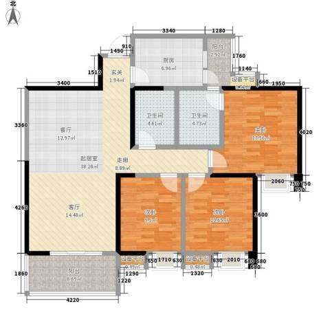 荣华北经城3室0厅2卫1厨129.00㎡户型图
