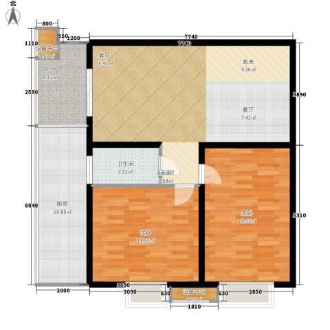 丝路起点2室0厅1卫1厨91.00㎡户型图