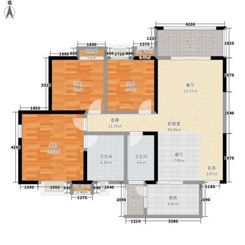 荣华北经城3室0厅2卫1厨125.00㎡户型图