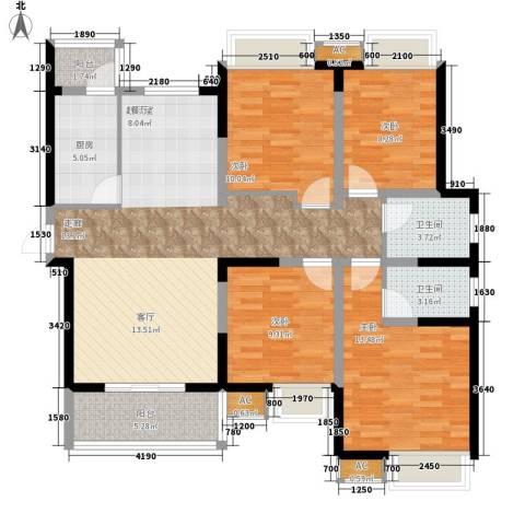 中天国际公寓4室0厅2卫1厨139.00㎡户型图