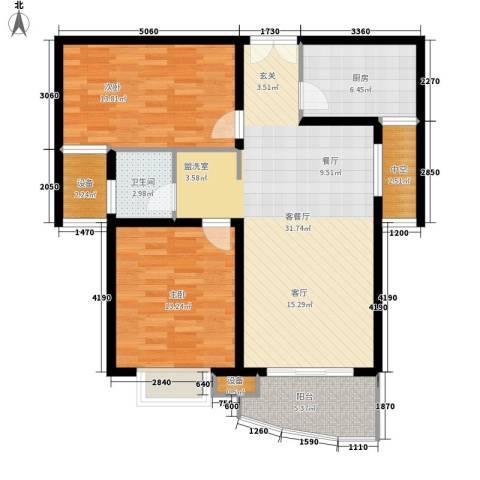 海德卫城2室1厅1卫1厨113.00㎡户型图
