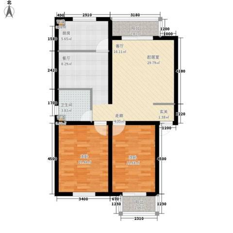 龙溪清雅园2室0厅1卫1厨92.00㎡户型图