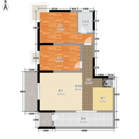 东城桃园2室0厅1卫1厨109.00㎡户型图