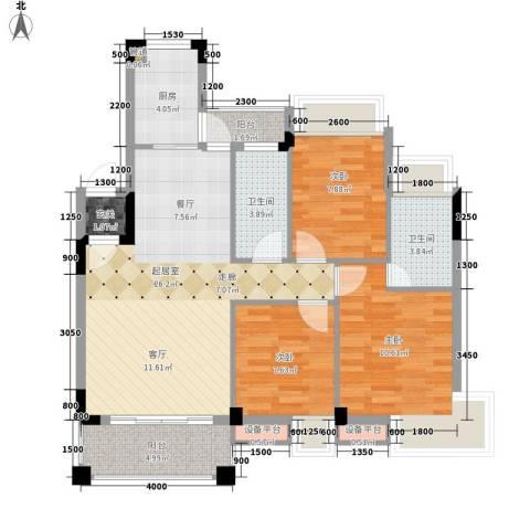 沃多夫酒店3室0厅2卫1厨72.99㎡户型图