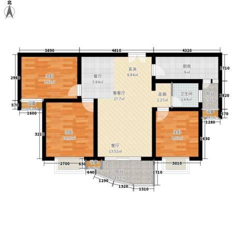 海德卫城3室1厅1卫1厨126.00㎡户型图