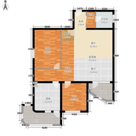 名人时代商务区2室0厅1卫1厨127.00㎡户型图