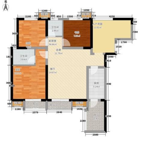 海棠华府3室0厅2卫1厨112.00㎡户型图