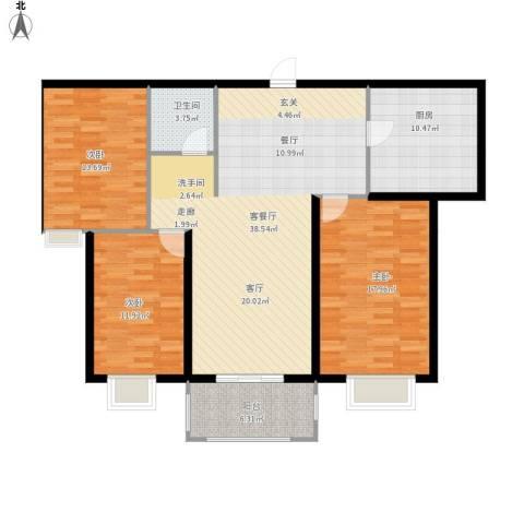高教公寓3室1厅1卫1厨113.23㎡户型图
