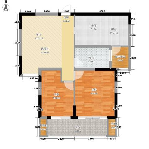 中北蔚蓝星座2室0厅1卫1厨95.00㎡户型图
