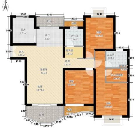 海德卫城3室1厅2卫1厨145.00㎡户型图