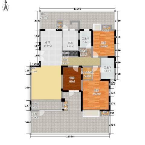 太阳城绿萱园3室1厅2卫1厨255.00㎡户型图