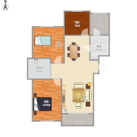 万豪城3室1厅1卫1厨116.00㎡户型图