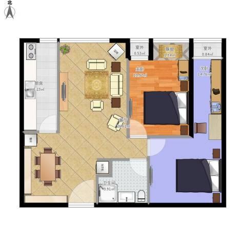 东亚・五环国际2室1厅1卫1厨89.00㎡户型图