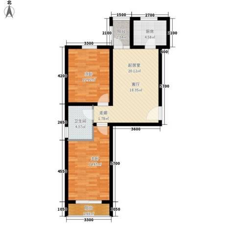 安联蓝水晶2室0厅1卫1厨88.00㎡户型图