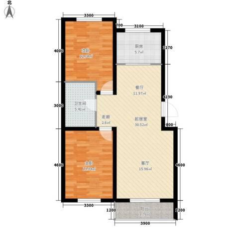 安联蓝水晶2室0厅1卫1厨90.00㎡户型图