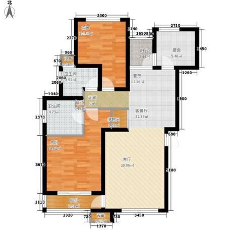 天房美域2室1厅2卫1厨110.00㎡户型图