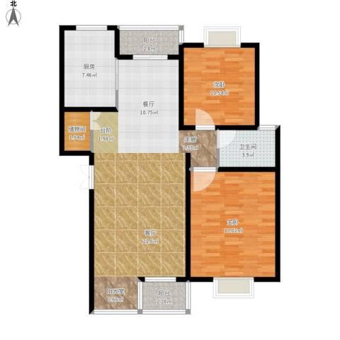碧水云天家园2室1厅1卫1厨119.00㎡户型图