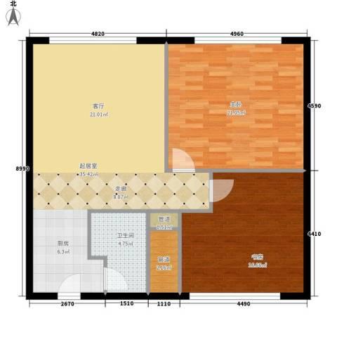 丽竣豪庭二期领寓2室0厅1卫0厨88.00㎡户型图