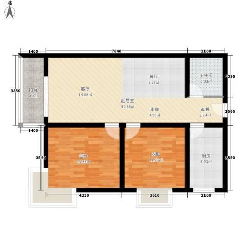 晶筑逸品2室0厅1卫1厨105.00㎡户型图