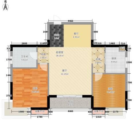 中惠山水名城2室0厅1卫1厨87.00㎡户型图