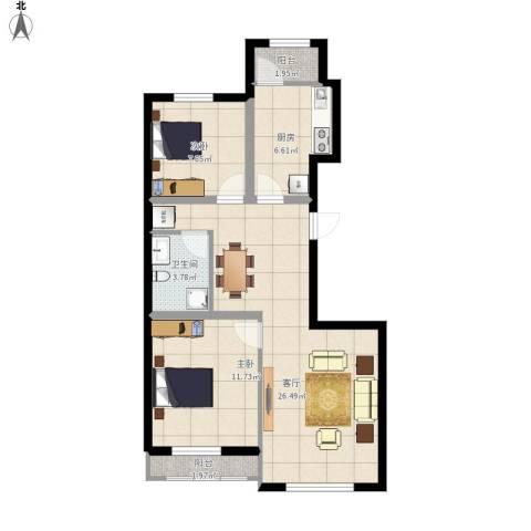 孔雀海2室1厅1卫1厨87.00㎡户型图