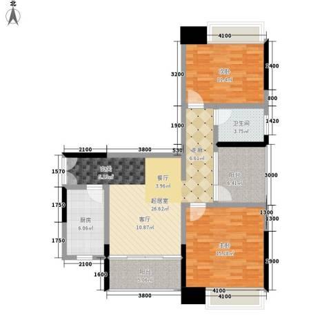 卓越东江2室0厅1卫1厨108.00㎡户型图