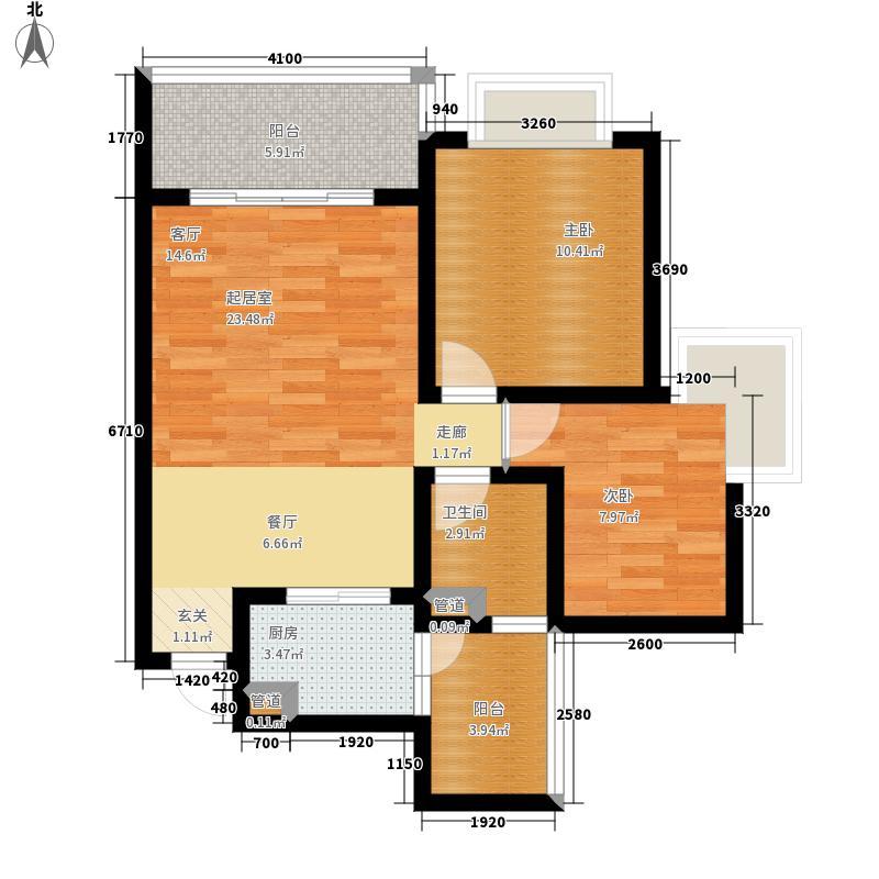 君悦·黄金海岸F2户型2室2厅