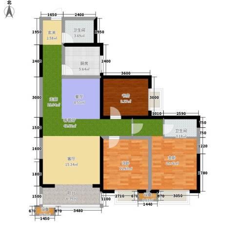 飞天花园小区3室1厅2卫1厨136.00㎡户型图