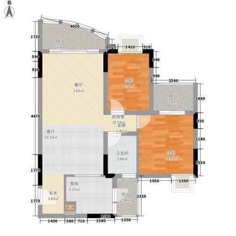 自在城市花园2室0厅1卫1厨79.00㎡户型图