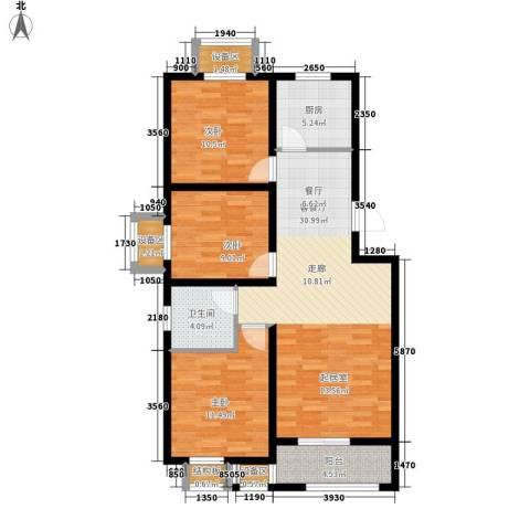 盛世峰景3室1厅1卫1厨116.00㎡户型图