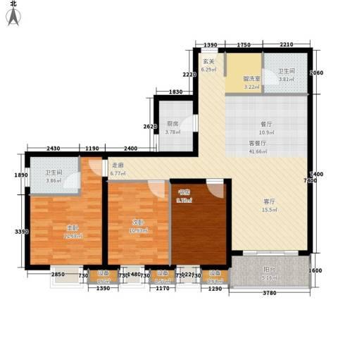 辰龙广场3室1厅2卫1厨122.00㎡户型图