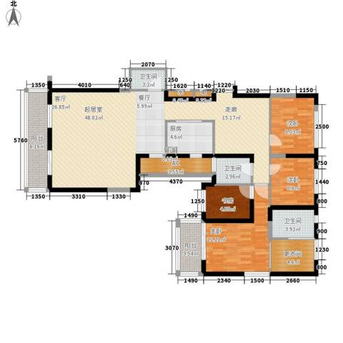 长江路九号4室0厅3卫1厨130.00㎡户型图