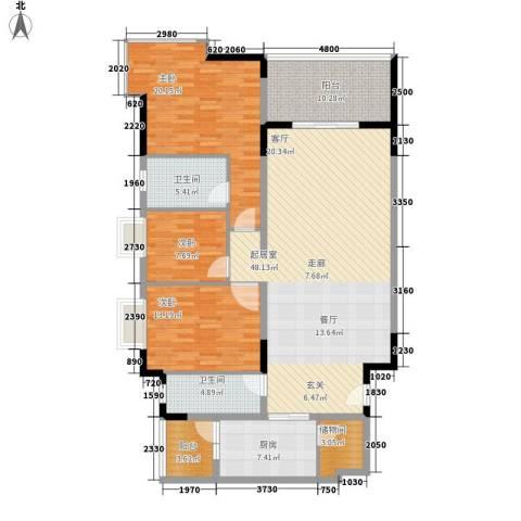 会展西岸3室0厅2卫1厨137.00㎡户型图