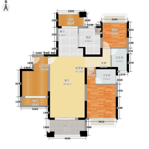 保利・观湖国际2室0厅2卫1厨121.00㎡户型图