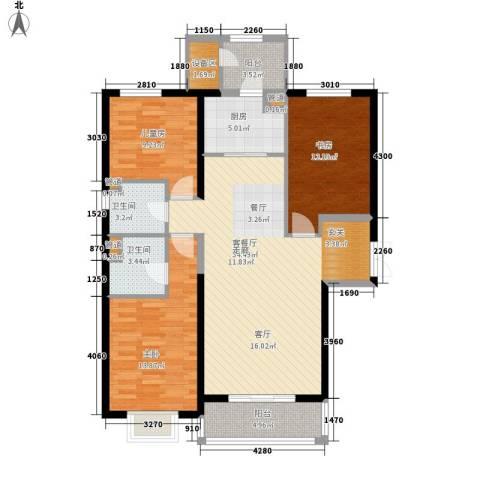 梧桐大道3室1厅2卫1厨139.00㎡户型图