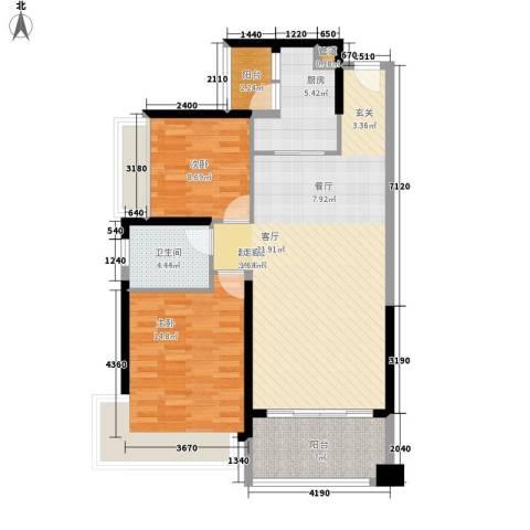 保利・观湖国际2室0厅1卫1厨88.00㎡户型图
