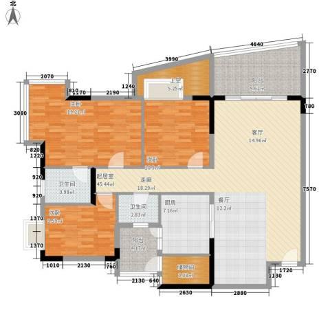 会展西岸3室0厅2卫1厨134.00㎡户型图