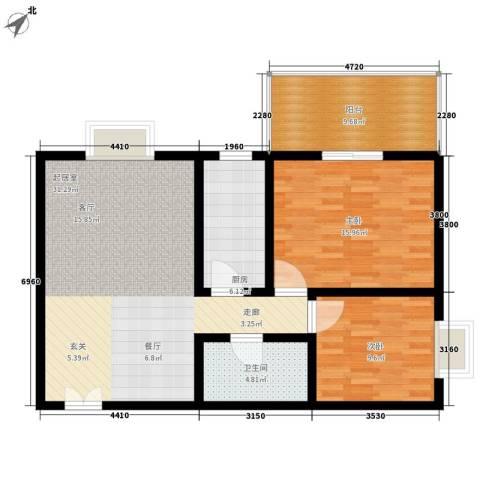 锦城四季2室0厅1卫1厨88.00㎡户型图