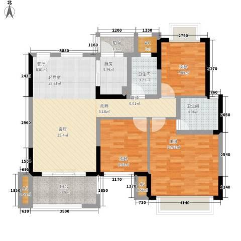 窝岭商业西街小区3室0厅2卫1厨119.00㎡户型图
