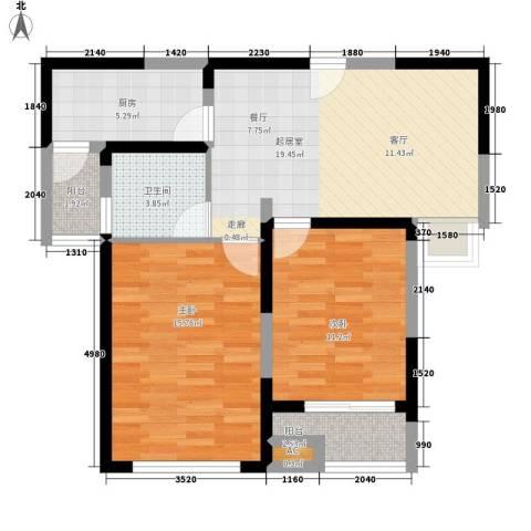 和泰家园2室0厅1卫1厨88.00㎡户型图