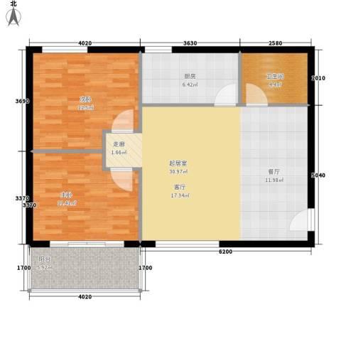锦城四季2室0厅1卫1厨80.00㎡户型图