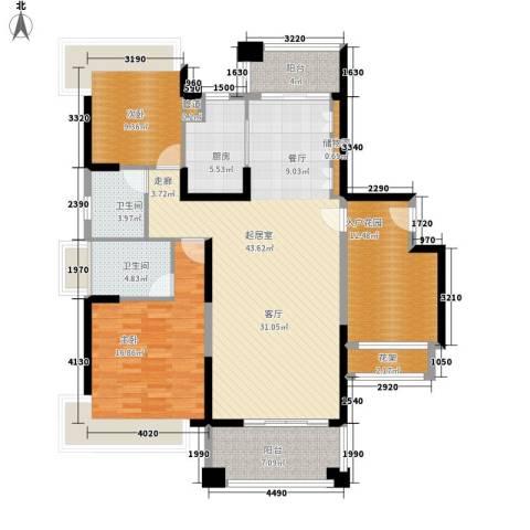 保利・观湖国际2室0厅2卫1厨127.00㎡户型图