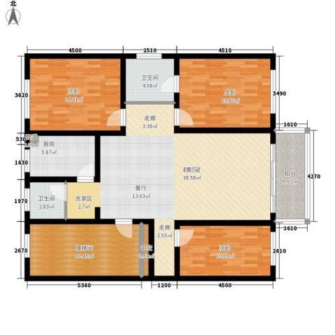 明达大厦3室0厅2卫1厨159.00㎡户型图