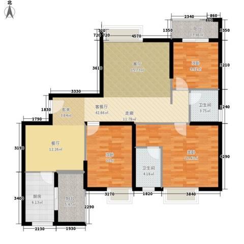 华城国际3室1厅2卫1厨147.00㎡户型图
