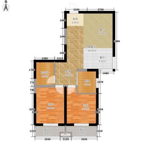 东岸阳光2室1厅1卫1厨108.00㎡户型图