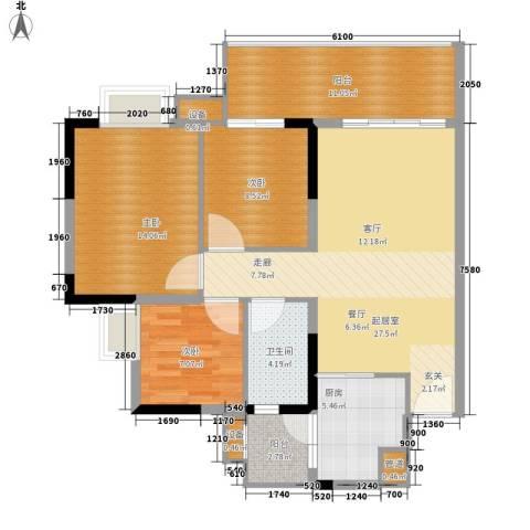 江南新苑3室0厅1卫1厨93.00㎡户型图