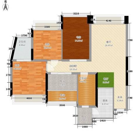 草阳小区3室0厅2卫1厨119.00㎡户型图