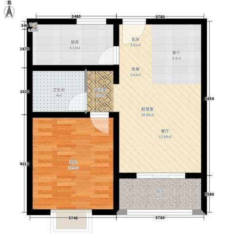 腾骐冠宸1室0厅1卫1厨62.00㎡户型图