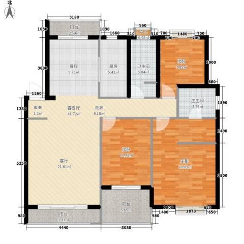 惠丰花园3室1厅2卫1厨121.00㎡户型图